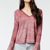 Kendall & Kylie Long Sleeve Bell Top - Womens Tee - Red