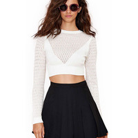 Long Sleeves Cutout Detail Knitted Cropped Top