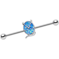 Imitation Light Blue Opal Serious Owl Industrial Barbell | Body Candy Body Jewelry