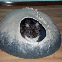 large Pets cave for big cat,white with grey cave,pets cat bed, hand crafted