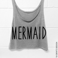 Mermaid -  Crop Tank Top - Gray