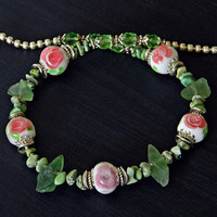 Floral Lampwork necklace Flower glass necklace, Pink Green Boho necklace, Flower Wedding necklace, Turquoise necklace Fluorite necklace