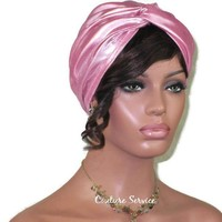 Handmade Pink Twist Turban, Metallic