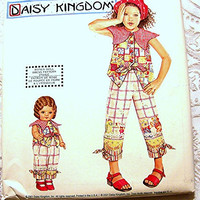 Simplicity Daisy Kingdom Girls Top and Pants Pattern size 3 4 5 6 and matching 18 inch Doll Clothes UNCUT