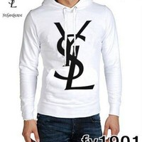YSL Fashion Casual Men Long Sleeve Pullover Hoodie G