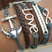 Ancient silver infinite love - anchor-Where there's a will there is On a way-woven leather bracelet