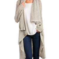 Draped Neck Long Sleeve Knit Cardigan - Small - Taupe /