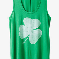 Green Clover Graphic Scoop Tank from EXPRESS