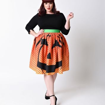 Unique Vintage Plus Size 1950s Orange Pumpkin Dot High Waist Circle Swing Skirt