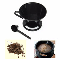 2016 Newest Espresso Coffee Filter Cone Dripper + Measuring Spoon Coffee Maker For Travel Cups Mugs Home DIY Coffee
