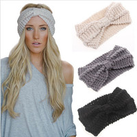 Women Lady Crochet Bow Knot Turban Knitted Head Wrap