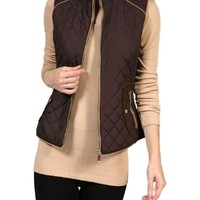 Quilted Padded Vest, Brown