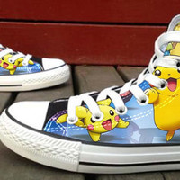 Pikachu Custom High Top Canvas Shoes for Women,men by HightShoes