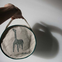 Round cosmetic-toilet bag Giraffe with handle, toiletry, travel bag,make up bag