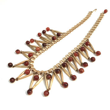 Egyptian Revival Collar Bib Necklace, Book Chain, Fringed, Dangle Beads, Gold Tone, Amber Beads, Statement Necklace