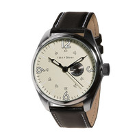 TOKYObay Jazz Watch with Beige Dial and Bold Black Italian Leather Strap