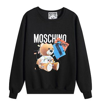Moschino New fashion letter bear print couple long sleeve top sweater Black
