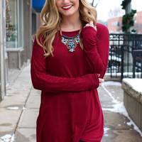 Beautifully You Tunic - Burgundy
