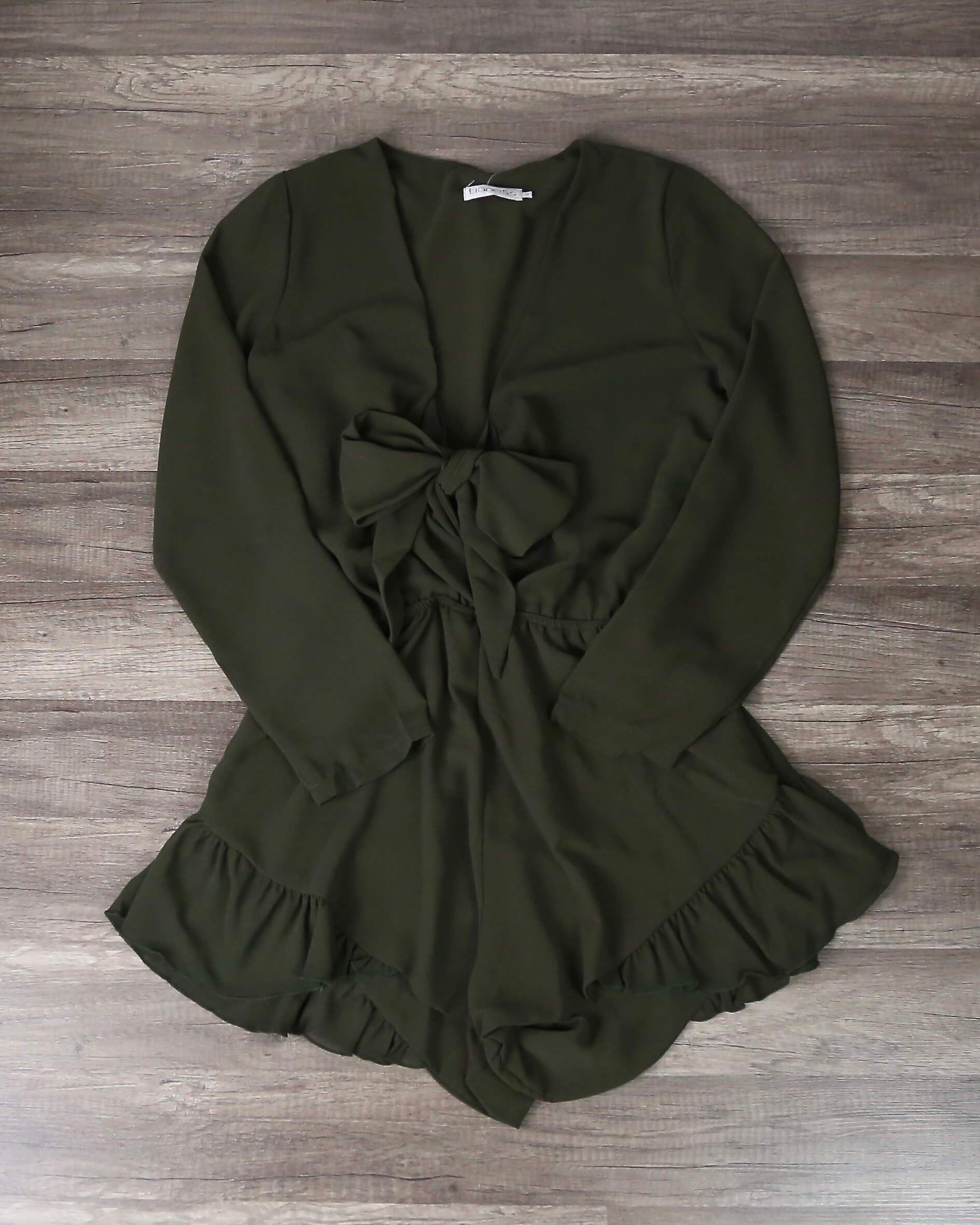 Image of Lioness - Green With Envy Ruffle Hem Romper in Khaki Green
