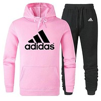 ADIDAS tide brand simple men and women sports suit two-piece Pink