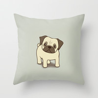 Pug Puppy Illustration Throw Pillow by Li Kim Goh