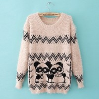 Long Sleeve Cubs Pattern Knit Sweater Pink