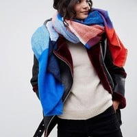 ASOS DESIGN oversized square scarf in blown up check in blue and red at asos.com