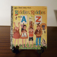"Vintage 1970s Children's Book ""Riddles, Riddles From A to Z"" - A little Golden Book / Retro Kids Book / Learn the Alphabet"