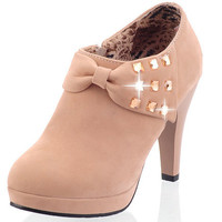 High Heel Shoes Woman  Round toe Sweet Bow tie Rhinestone Platform High Heeled Shoes Ankle Boots Women's Casual Shoes