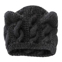 Cat Ears Hats For Women Lovely Cute Warm Knitted Beanie Women Caps Winter Autumn Outwear Hats Gorros Mujer Invierno#B106