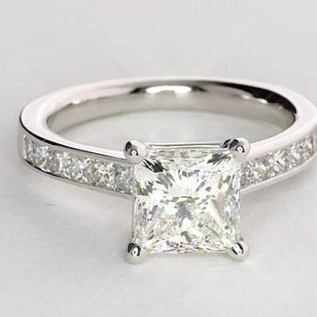 1.40ct F-SI1 Princess Cut Diamond Engagement Ring  JEWELFORME BLUE GIA certified
