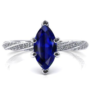 Elysia Marquise Blue Sapphire 6 Prong 3/4 Eternity Diamond Accent Ring