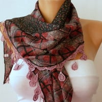 ON SALE - Women  Scarf -  Cowl with Lace - Multicolor