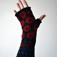 Long Fingerless Gloves with Snowflackes - Wool Fingerless Gloves - Red Black Fingerless -  Winter Accessories nO 65.