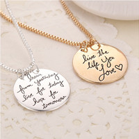 """""""live the life you love"""" Engraved Letter Necklace Gold Silver Round Pendants Necklaces For Girl Woman Jewelry Bijoux Femme"""