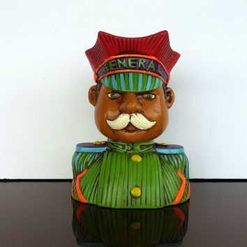 1960s BANK VINTAGE BUST - Colorful General Man with Hat and Mustache - Sixties Savings Bank - Collectible Lego Ceramics 4036 - Piggy Bank