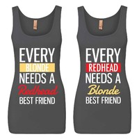 Every Blonde and Every Redhead Girl BFFS Jersey Tank Tops