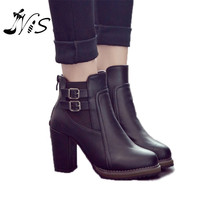 Thick Square High Heels Double Buckle Knight Ankle High Women's Winter Boots