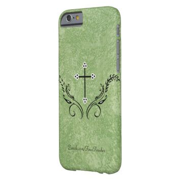 Marmorino Green Plaster Decorative Cross Barely There iPhone 6 Case