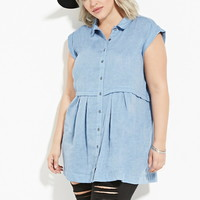 Plus Size Chambray Tunic | Forever 21 PLUS - 2000181117