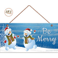 """Be Merry Sign, Dancing Snowmen, Holiday Sign, Christmas Decor, Weatherproof, 5"""" x 10"""" Sign, Great Gift, Christmas Sign, Made To Order"""