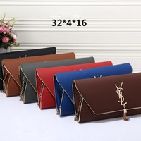 """Yves Saint Laurent YSL"" Women Envelope Bag Simple Fashion Metal Chain Single Shoulder Messenger Bag Tassel Clutch Bag"
