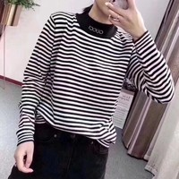 """Gucci"" Women Fashion Multicolor Stripe Letter Turtleneck Long Sleeve Sweater Pullover Tops"