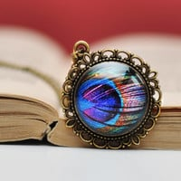Peacock Feather Necklace, Rainbow Antique Brass, Resin Jewelry
