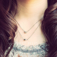 2 Delicate Silver Nugget and Star Charm Dainty Necklaces