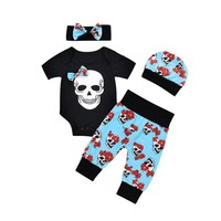 Newborn Baby Boys Girls Flower Skull Romper Jumpsuit Pants 4Pcs Set Suit Outfits Children Clothing