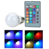 SUPERNIGHT E27/E26 Standard Screw Base 16 Colors Changing Dimmable 3W RGB LED Light Bulb with IR Remote Control for Home Decoration/Bar/Party/KTV Mood Ambiance Lighting