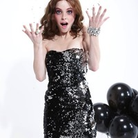As U Wish Silver Sequin Cocktail Dress
