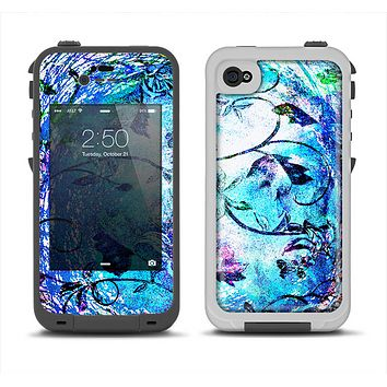 The Black & Bright Color Floral Pastel Apple iPhone 4-4s LifeProof Fre Case Skin Set