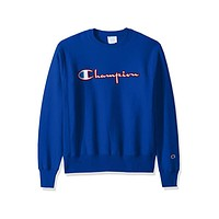 Champion Men's Life Reverse Weave Crewneck Blue Sweatshirt